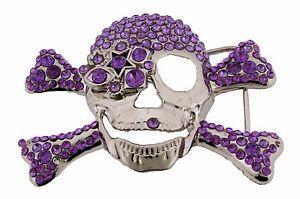Mens-Women-Skull-Belt-Buckle-Skeleton-Rhinestone-Tribal-Gothic-Tattoo-Purple-New