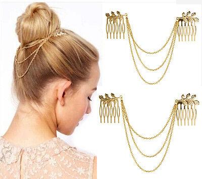 Gold Metal Tassel Chain Leaf Comb Cuff Jewelry Headband Hair Accessory JT51