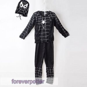 Image is loading Cosplay-Kids-Black-Spider-Man-VENOM-Outfit-3- & Cosplay Kids Black Spider Man VENOM Outfit 3-7Y/O Dress Up Costume ...