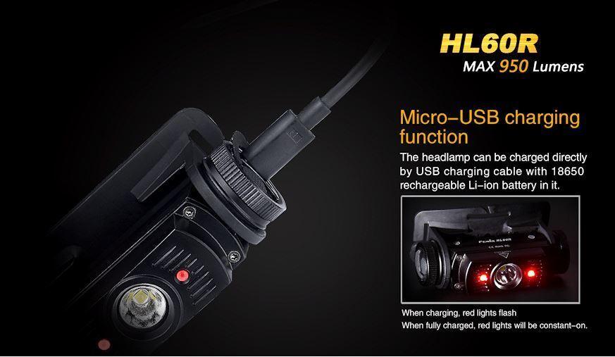 Fenix HL60R rechargeable 950 lumens étanche étanche étanche headtorch 2600 batterie incluse 3eec26
