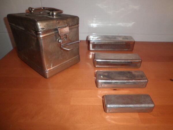 5 Cajas Metalicas Acero Quirurgico Hervir Esterilizar Jeringuillas Farmacia