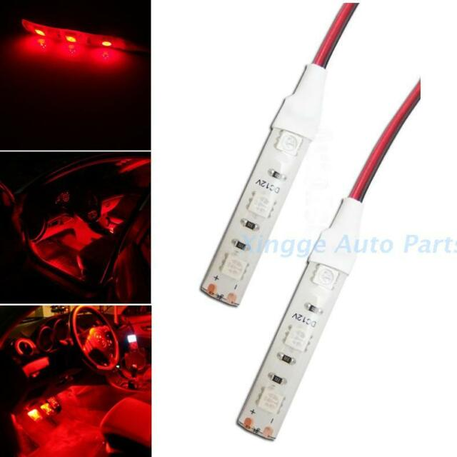 2pcs 3-SMD Red  LED Strip Lights Lamp For Motorcycle Under Glow  Lighting