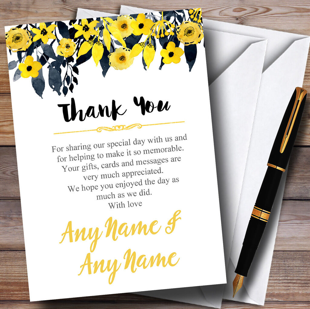 Aquarelle noir & jaune personnalisé floral en-tête personnalisé jaune mariage remercieHommes t afc06c