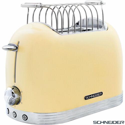 Schneider Vintage 2 Scheiben Edelstahl Toaster Automat Brötchenaufsatz elfenbein