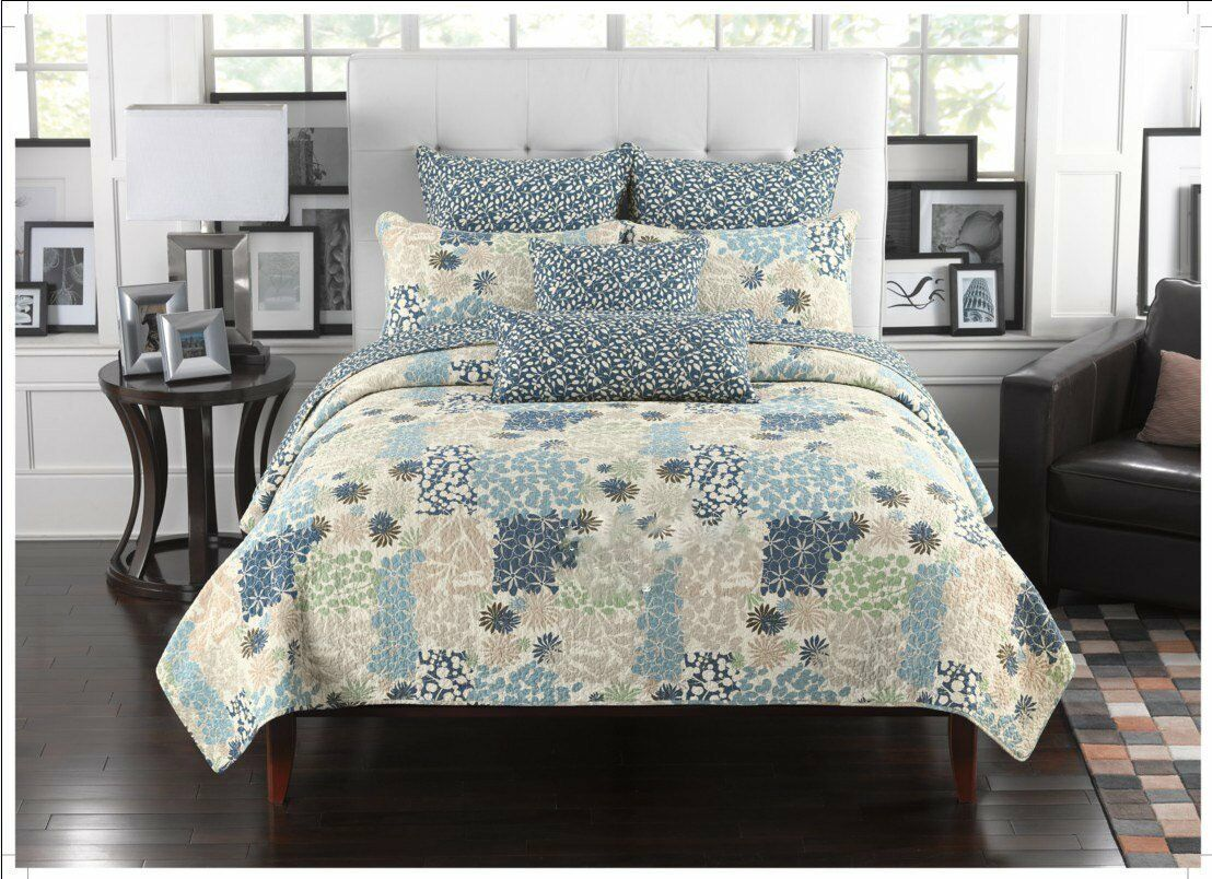 Fancy Linen Bedspread Coverlet Floral Modern Blau Beige all Größes New