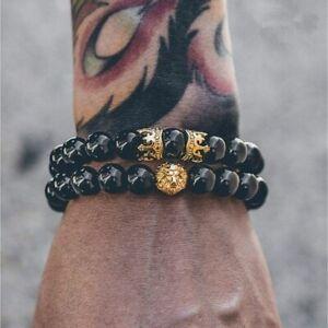 Herren Armband Schwarz Perlen Onyx Löwe Krone Gold Silber