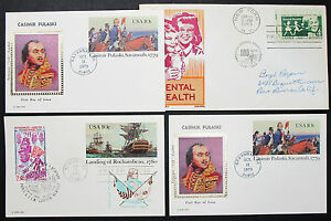 US-Postage-Set-of-4-Covers-Letters-Envelopes-Casimir-Stamp-FDC-USA-H-8300