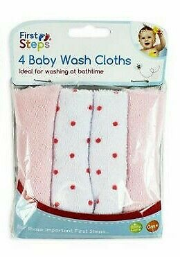 4x First Steps Soft Baby Wash Cloths Towel Flannel Wipes Clean Face Bathing Gift