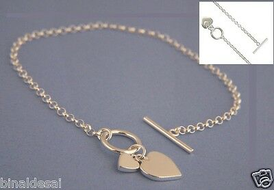 "7.5"" 925 STERLING SILVER DOUBLE HEART CHARM TOGGLE T-BAR BELCHER Chain BRACELET"