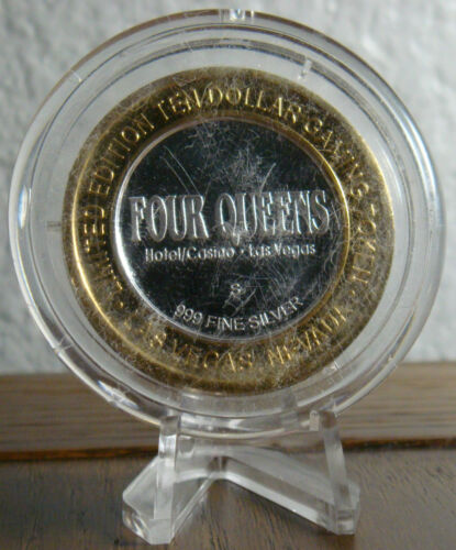 """Four Queens /""""Man/'s 4 Vices/"""" SPORTS $10 .999 Silver Strike"""