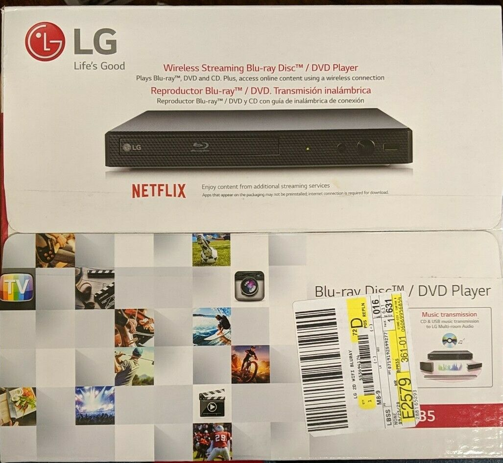 LG BPM35 Blu-ray DVD &  Disc Player Streaming Service Built-in WiFi & HDMI -(CR) bpm35 dvd hdmi player service streaming wifi