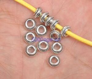 50pcs 100pcs tibetan silver charms spacer bead BEADS 7x3mm A3422