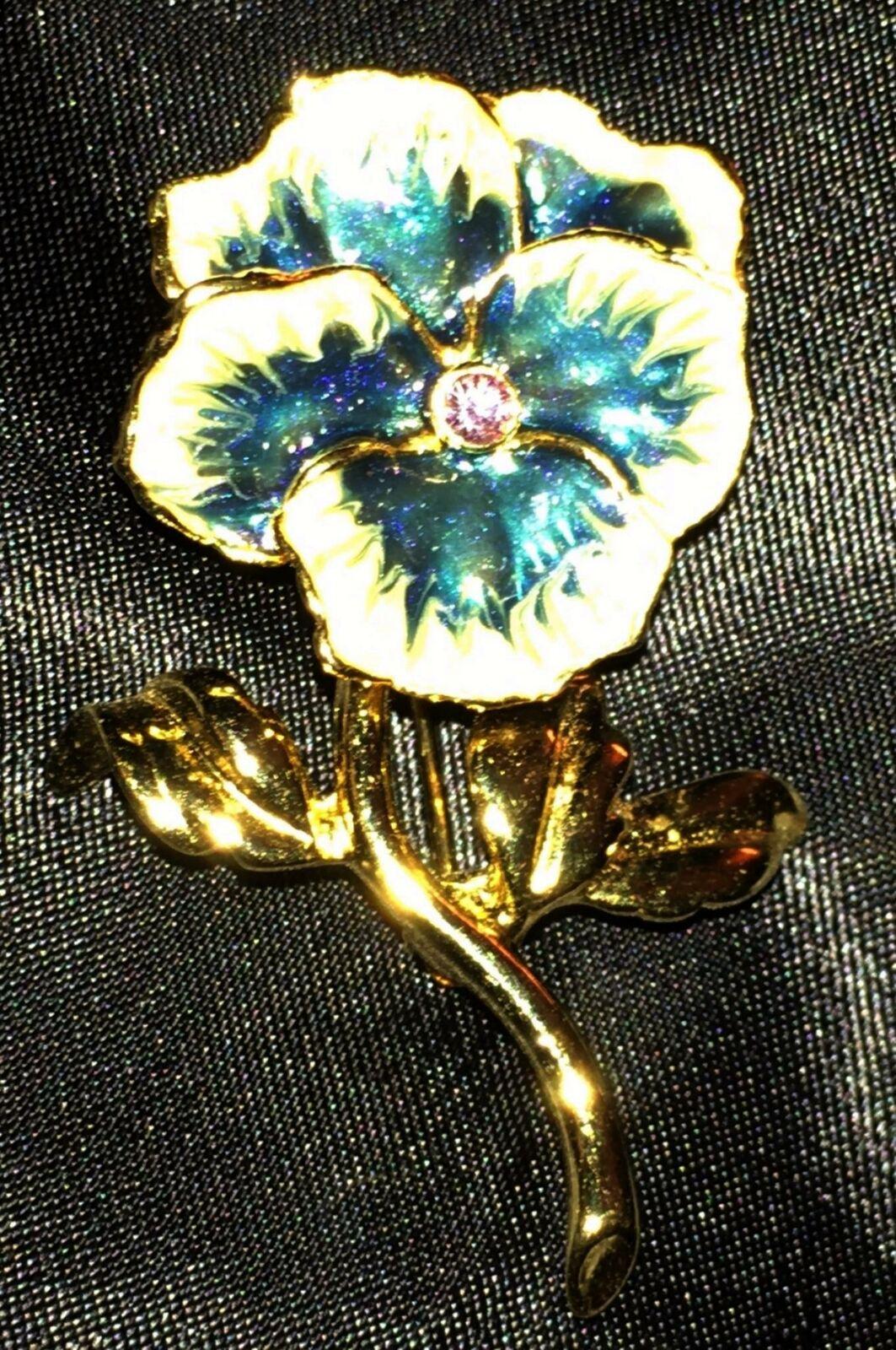Vtg Pansy Brooch Enamel Flower Crystal Blue White… - image 3