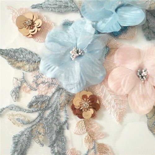 Bestickt Applikation Blumenmuster Patch Spitze Netz Pailletten Glänzend für Ehe
