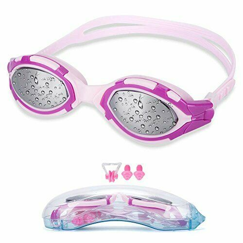 Pink Anti Fog UV Protection Swimming Swim Goggles FOR Adult Youth Kids