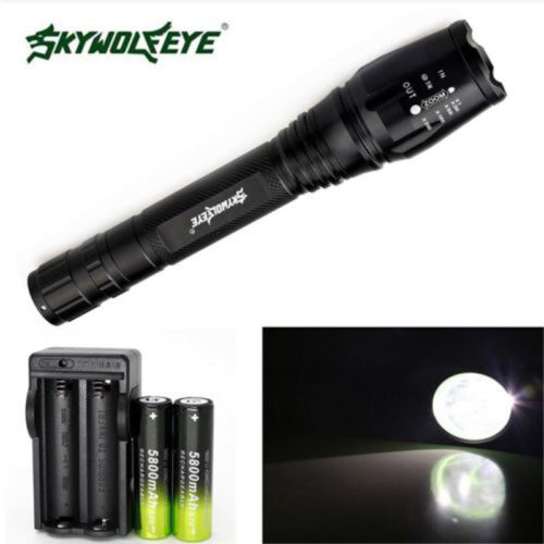New 12000LM 5-Mode CREE XML T6 LED Zoomable Taschenlampe 18650 mit Ladegerät