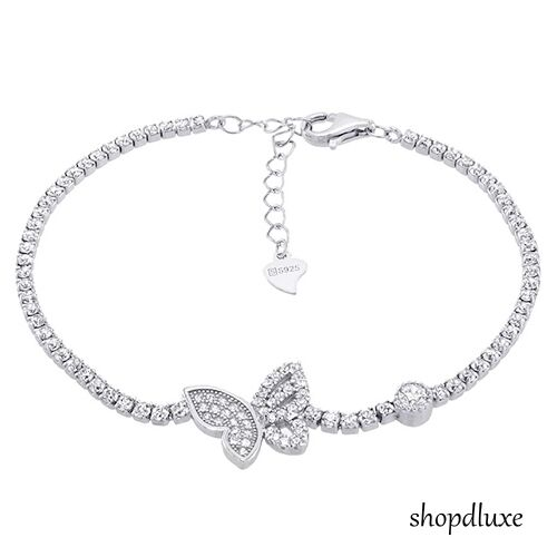 WOMEN'S ROUND CUT CLEAR CZ .925 STERLING SILVER BUTTERFLY TENNIS BRACELET