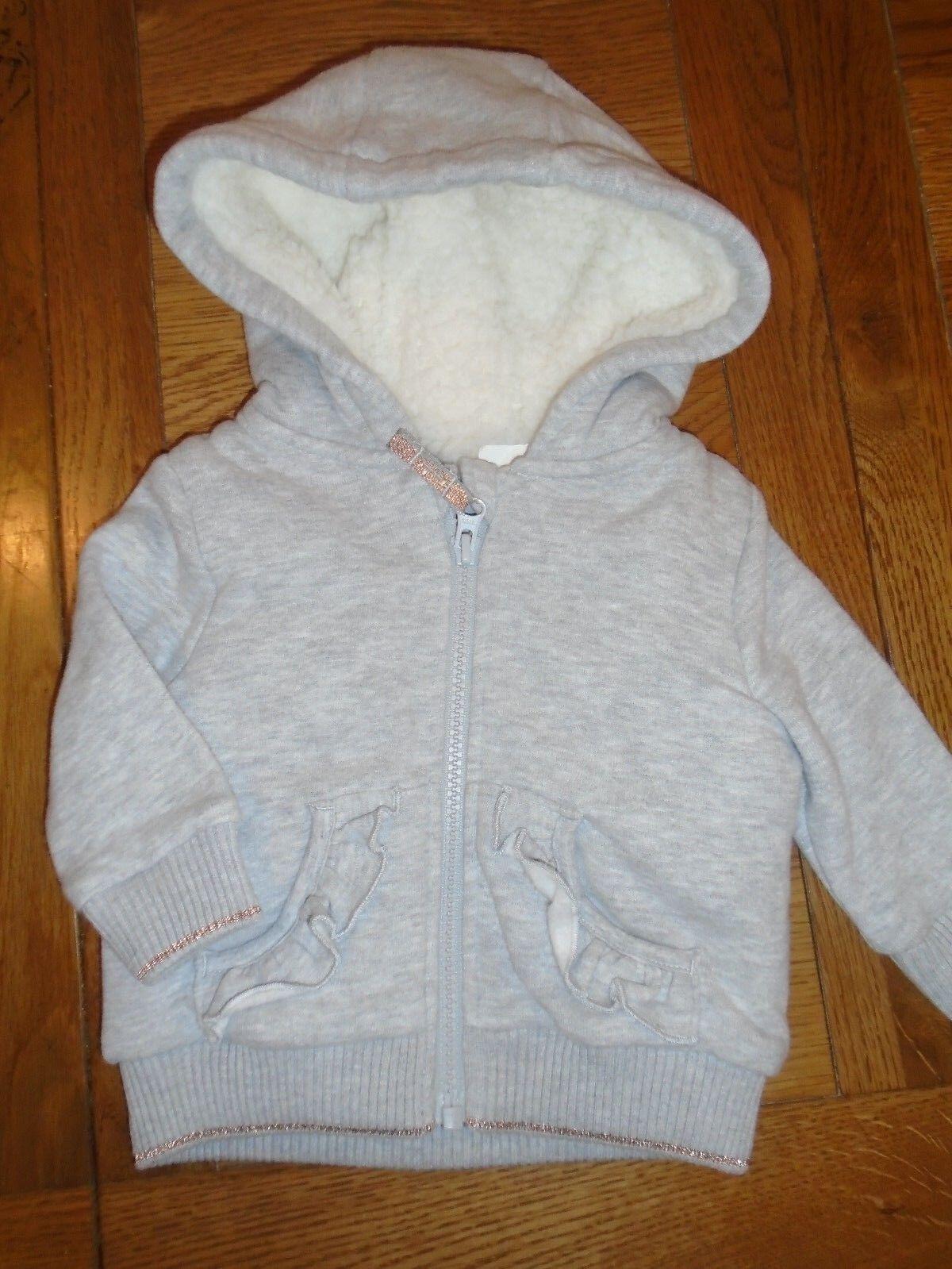 BNWT Baby Mädchen silbergrau Fleece gefütterte Kapuzenoberteil.M & amp; S.RRP 14,3-6 Monate (2/4)