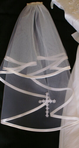 SATIN EDGE WITH LACECROSS// WHITE OR IVORY made in UK First HOLY COMMUNION VEIL