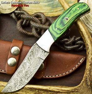 Handmade Damascus Steel Skinning Blade Full Tang Knife   Hard Wood