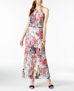 94af3b93100c $240 MSK WOMEN'S PINK WHITE FLORAL PLEATED HALTER-NECK MAXI GOWN ...