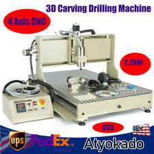 4 Axis Cnc 6090 Router Engraver 3d Carving Drilling Machine 22kw Cutting Usb Us