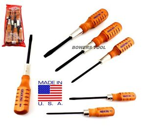 Grace-6pc-Screwdriver-Set-Phillips-Flat-Hone-Mechanic-Wood-Handle-HCS-6-USA-Made