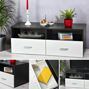 lowboard wei schwarz sideboard regal tv tisch highboard wohnwand fernsehschrank ebay. Black Bedroom Furniture Sets. Home Design Ideas
