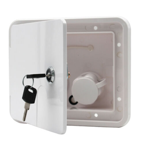 White Gravity City Water Inlet Fill Dish Hatch Lock RV Trailer #2