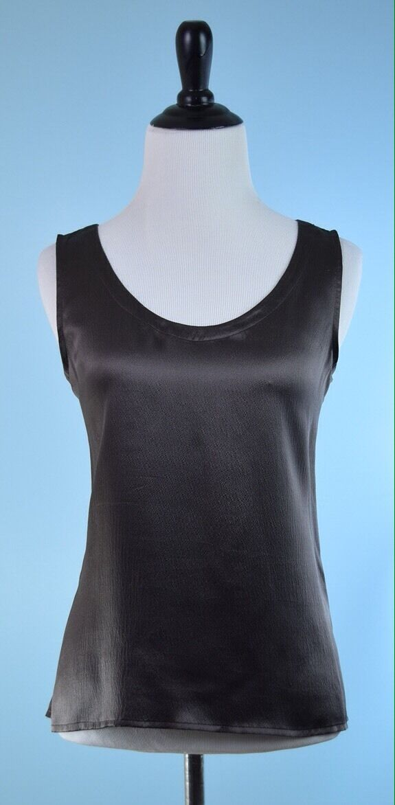 EILEEN FISHER  Mink braun Sleeveless Side Slit 100% Silk Top Größe S