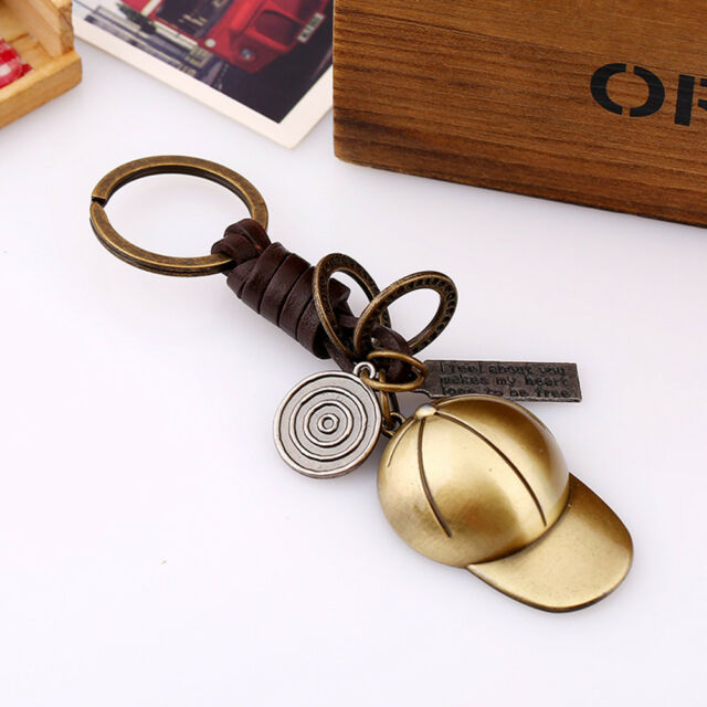 Cute Vintage Baseball Cap Keychains Leather Car Key Ring Bag Pendant Accessory i