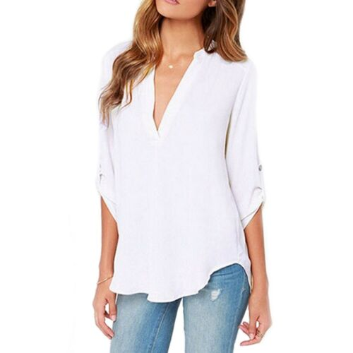 Femme Long Revers Manches Col V Coupe Ample Mousseline Chemisier//chemise Taille UK 8-18