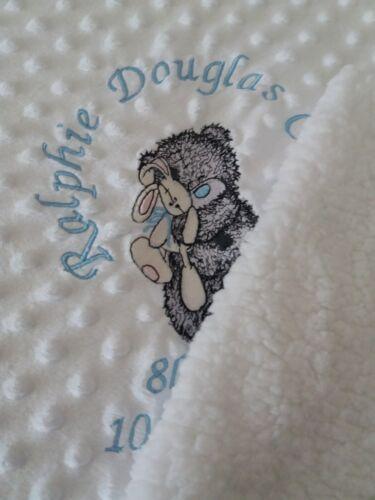 personalised dimple fleece baby blanket grey teddy tatty sherpa luxury fleece