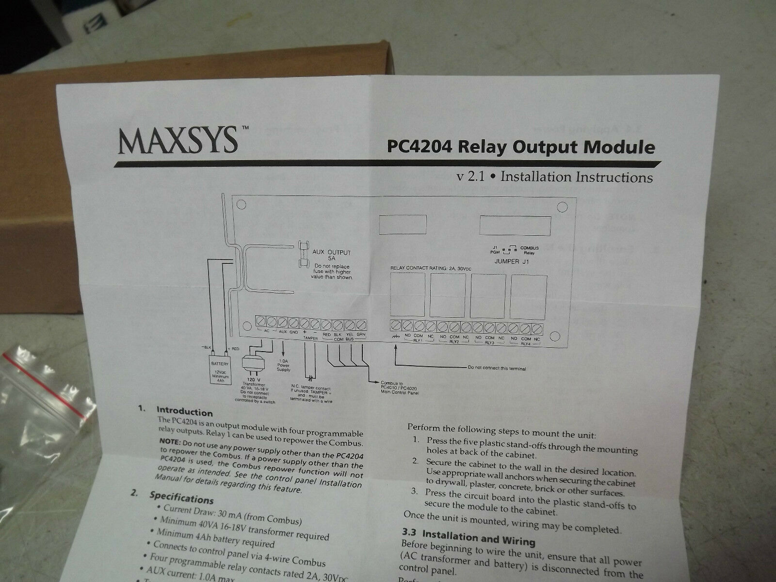 Dsc Maxsys Kt Pc4204 Security Alarm 12v 4 Programmable Relay Output 4020 Wiring Diagram Kantech Ebay