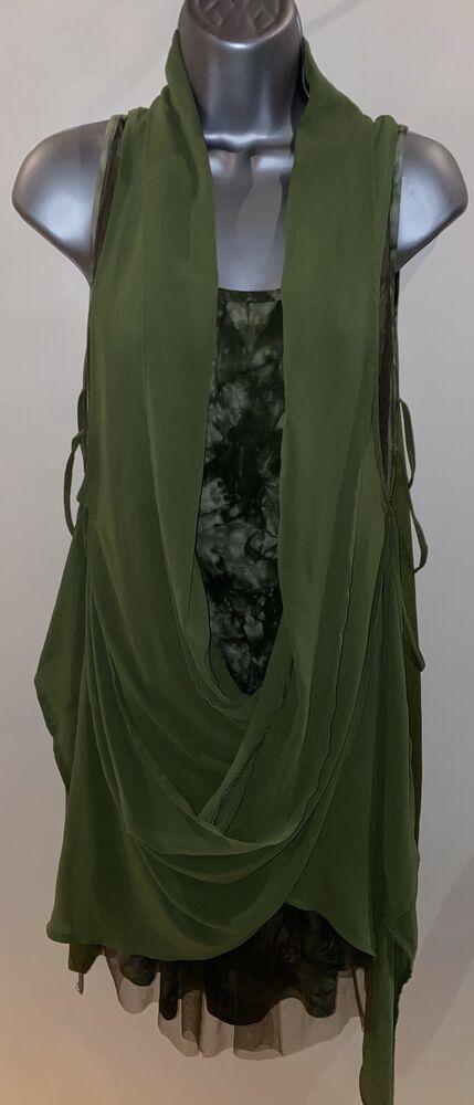 Forla Paris Vert Robe Tunique Taille M Rrp £ 49.99 Bnwt Drapée Couches Boho