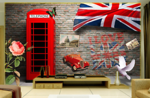3D Telephone Booth 78 Wall Paper Murals Wall Print Wall Wallpaper Mural AU Kyra