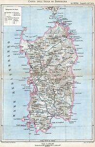 Cartina Sardegna Grande.Sardegna Grande Carta Geografica Cromolitografia Stampa Antica Passepartout 1895 Ebay