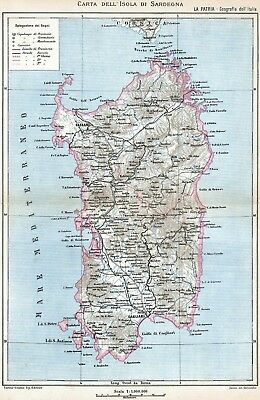 Sardegna Cartina Geografica.Isola Di Sardegna Grande Carta Geografica Cromolitografia Stampa Antica 1895 Ebay