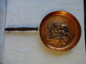 Vintage Copper Wall Hanging Pan with Wooden Handle Diameter 20 cm Handle 19 cm