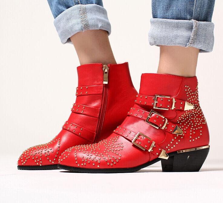 femmes Retro Genuine Leather Rivet Stud Buckle Strap Side Zip Block Ankle bottes