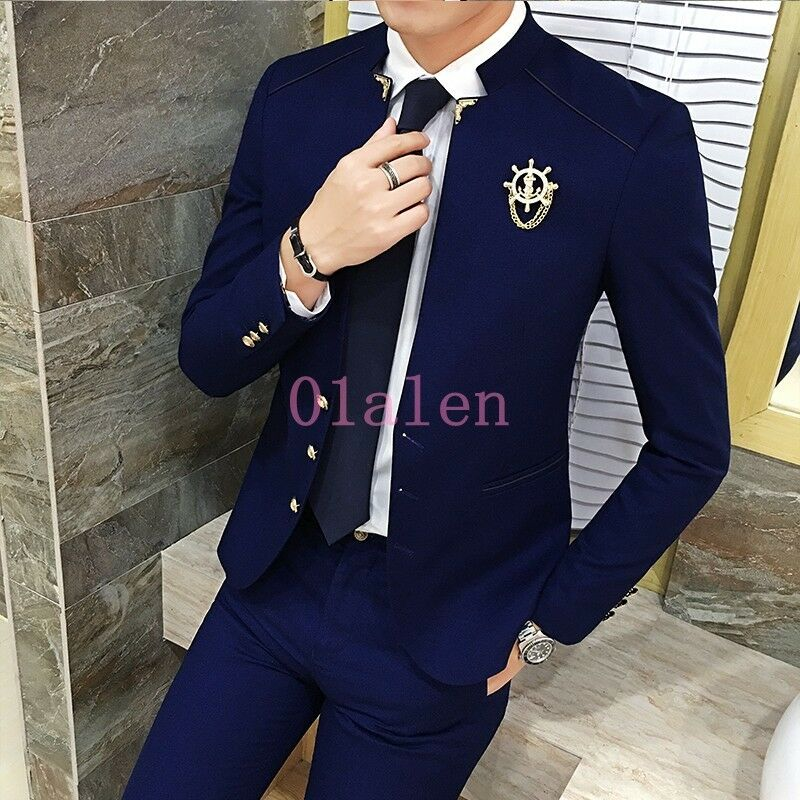 Mens Suits Korean Slim Fit Casual 3 Pieces Coat Pants Shirt Stand Collar Wedding