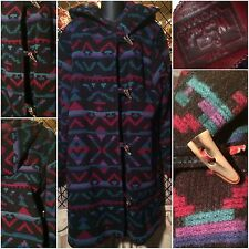 Woolrich Women's Wool Hooded Long Warm Aztec Indian Blanket Coat Parka Medium