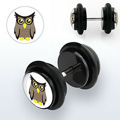 Punk Goth Pair of Illusion Ear Plugs for Pierced Ears Owl Hipster White Logo 8mm