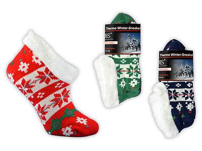 Thermo Sneaker Socken mit ABS Sohle Hausschuhe Anti Rutsch Sohle Stoppersocken
