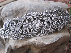 Large-Antiqued-Silver-Plated-Brass-Thick-Hair-Barrette-4-5-8-034-Made-in-USA-6012S