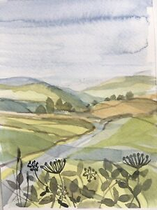 Signed Original Watercolour 'Sunlit Uplands On The road Less Travelled'