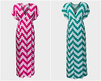New Long Chevron Teal / Pink V-Neck Maxi Dress Size 8 10 12 14 16 18 20