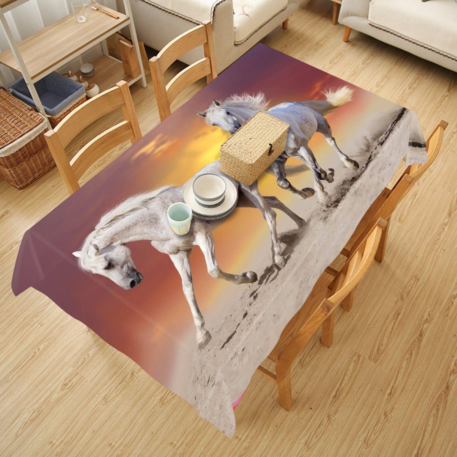 3D chevaux 5 Nappe Table Cover Cloth fête d'anniversaire AJ papier peint Royaume-Uni Citron