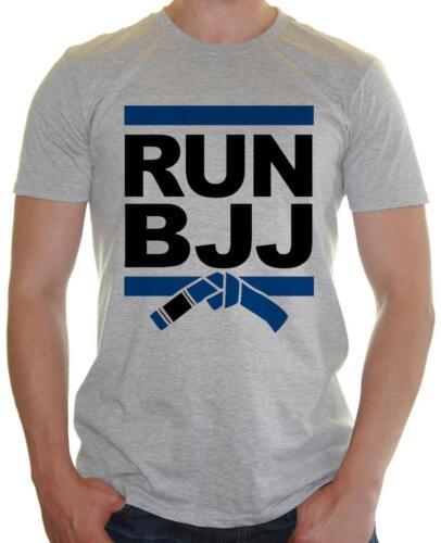 Mens Funny t-shirt /' Run BJJ /' Brazlian Jiu Jitsu Run DMC Parody