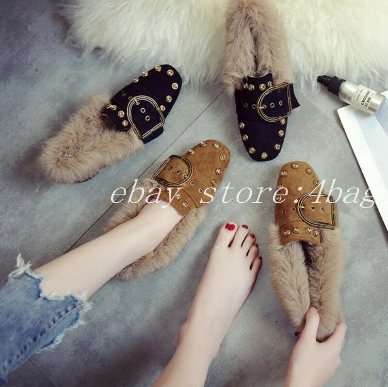 Women's Rabbit Fur Lining Winter Loafers Korean Korean Korean Flats Ankle Boots Warm Slip On da780b